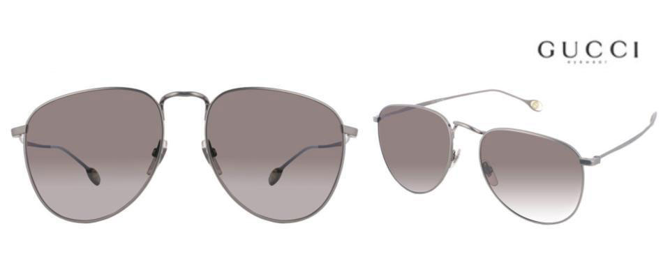 1516ae584b5 These Gucci Aviator style sunglasses are an undeniably fresh take in the fashion  they are classic and flattering. The slim wired frames are crafted from ...
